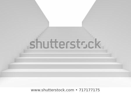 Witte trap 3D gegenereerde foto muur Stockfoto © flipfine
