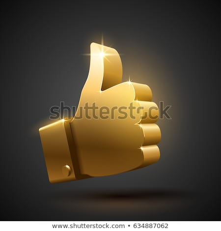 Thumbs Up Gold Vector Icon Button Stock photo © rizwanali3d