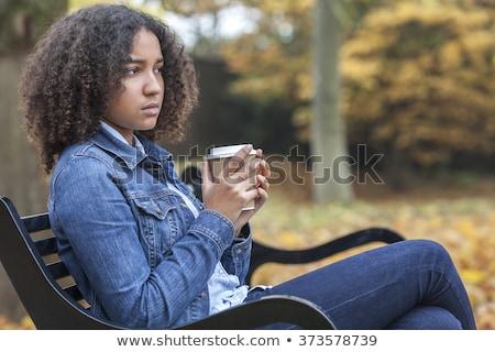 女性 ベンチ ブロンド 若い女の子 座って ストックフォト © Kor