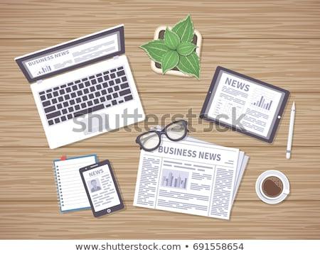 kávé · digitális · tabletta · virális · szöveg · kilátás - stock fotó © zerbor