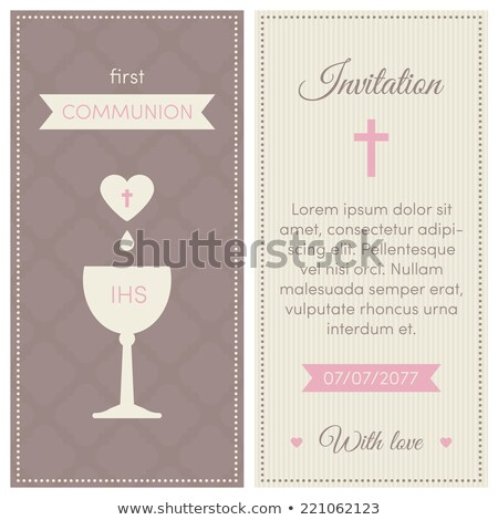 first communion invitation card brown girl stock photo © marimorena