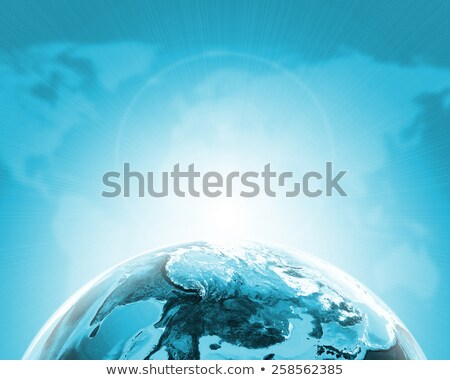 Green half earth globe with continents, transparent. World map on dark background Stock photo © cherezoff