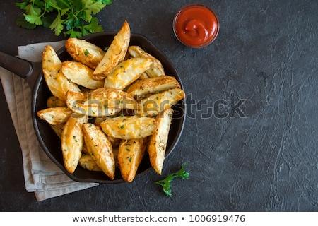 ストックフォト: 新鮮な · ジャガイモ · サワークリーム · ディップ · 木材 · 唐辛子