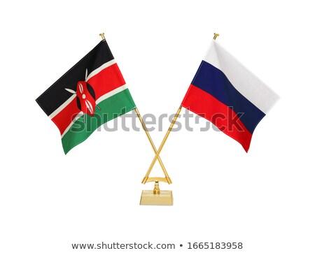 ロシア ケニア ミニチュア フラグ 孤立した 白 ストックフォト © tashatuvango