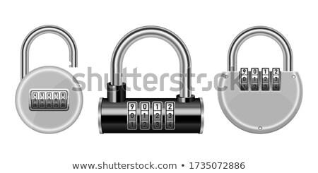 Abierto combinación candado aislado blanco clave Foto stock © alexmillos