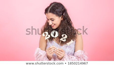 cute · timide · femme · regarder · caméra - photo stock © stockyimages