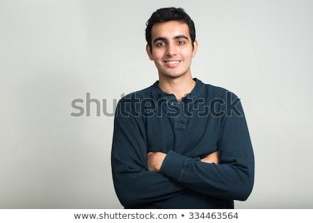 Stock fotó: Portré · jóképű · indiai · fiatalember · szürke · mosoly
