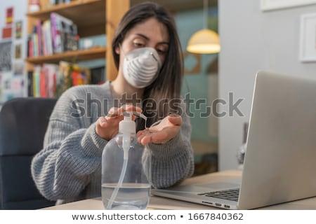 kadın · enfekte · soğuk · yatak · genç · kadın · burun · üfleme - stok fotoğraf © deandrobot