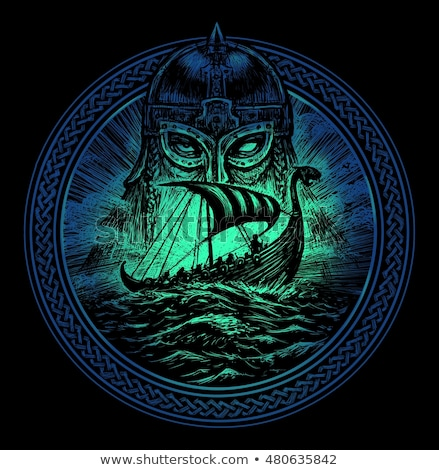 эмблема викинг щит Мечи фон черный Сток-фото © sharpner