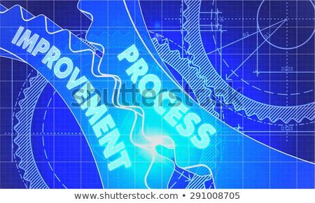 Process Improvement on the Gears. Blueprint Style. Stock photo © tashatuvango