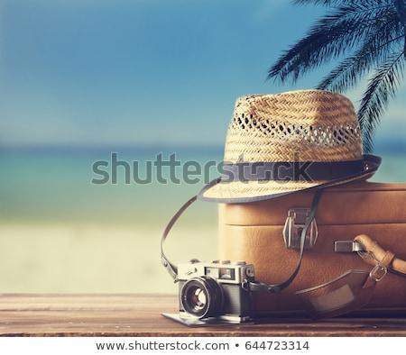 古い スーツケース ビーチ ヴィンテージ 中古 革 ストックフォト © compuinfoto