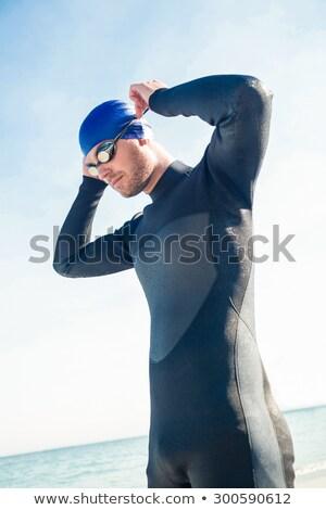 пловец готовый пляж человека счастливым Сток-фото © wavebreak_media