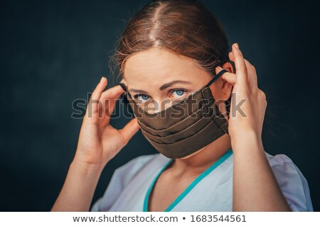 Close up woman with asthma with inhaler Stock photo © roboriginal