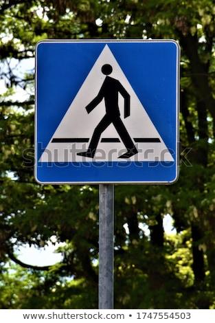 voetganger · teken · blauwe · hemel · lopen · witte · verkeersbord - stockfoto © jeayesy