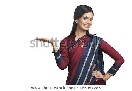 Traditionally Indian woman gesturing Stock photo © imagedb