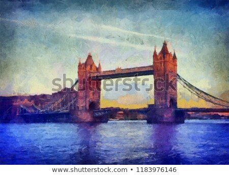 Watercolor art print of the skyline of London Stock photo © chris2766