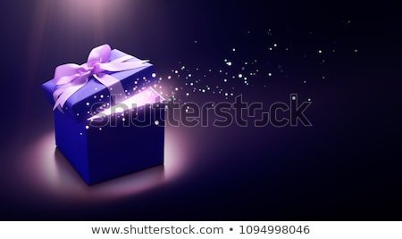 purple gift box with blue ribbon bow stock photo © teerawit