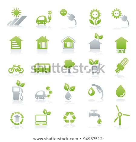 Plug signo verde vector icono botón Foto stock © rizwanali3d