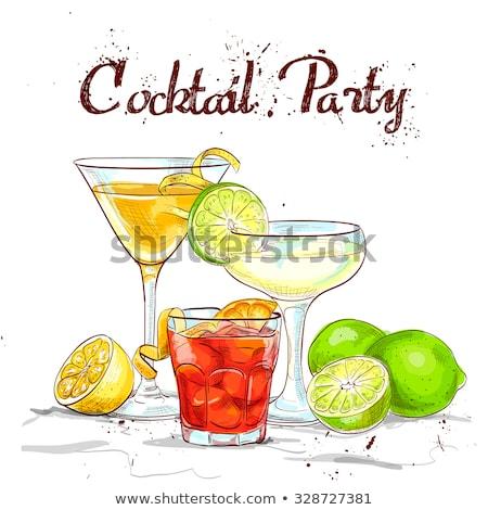 piros · kozmopolita · koktél · felszolgált · szelet · citrus - stock fotó © netkov1
