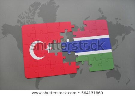 Turcja Gambia flagi puzzle odizolowany biały Zdjęcia stock © Istanbul2009