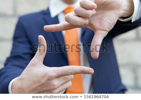 Businessmen represent rectangle from hands Stock photo © Paha_L