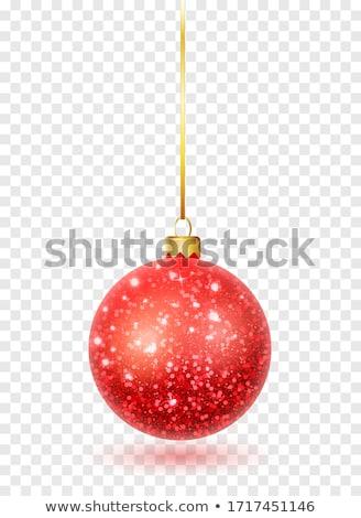 赤 グリッター クリスマス ボール 孤立した 白 ストックフォト © plasticrobot