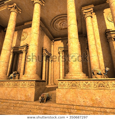 Guardian Tigers of an ancient fantasy temple Stock photo © ankarb