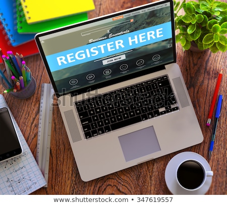 register here concept on modern laptop screen stock photo © tashatuvango