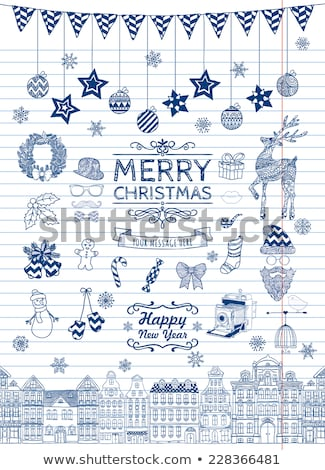 set of hand drawn outlined christmas doodle icons xmas vector illustration striped paper texture stock photo © rommeo79