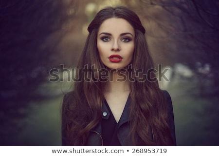 Menina escuro lábios vermelhos mulher jovem Foto stock © svetography
