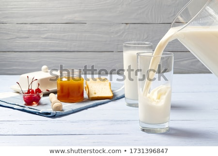 Milk Is Poured Into A Glass Stock photo © watsonimages