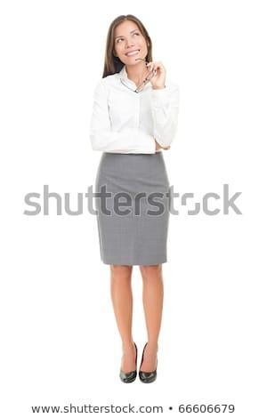 portret · jonge · mooie · zakenvrouw · permanente - stockfoto © deandrobot