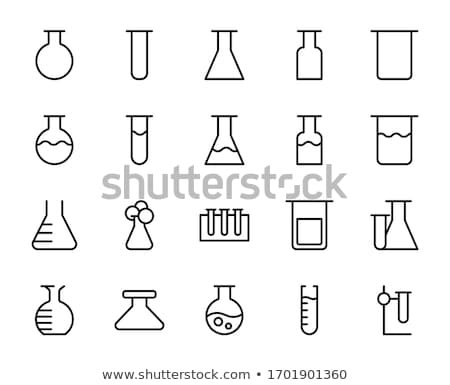 Stock photo: Laboratory flask icon , Flat design style, vector illustration.