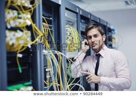 Stockfoto: Praten · telefoon · netwerk · kamer · jonge · zakenman