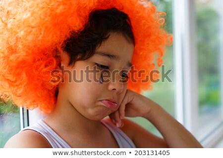 Abbandonato kid clown capelli parrucca triste Foto d'archivio © zurijeta