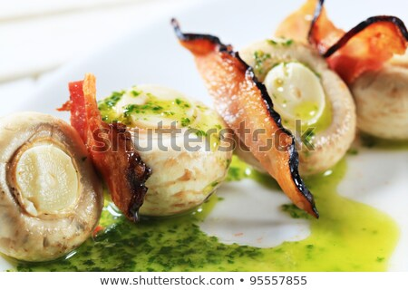 button mushrooms and bacon on stick stock photo © digifoodstock