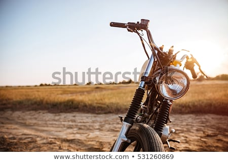 Close-up view on retro motorcycle headlights Stock photo © deandrobot