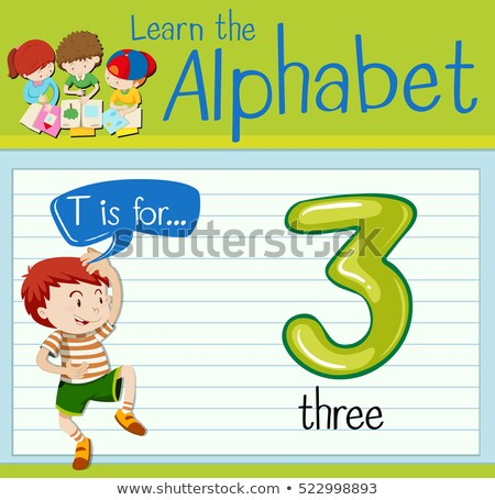 Flashcard letter T is for three Stock photo © bluering
