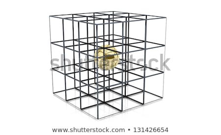 Steel sphere encircled by golden cubes Stock photo © MONARX3D