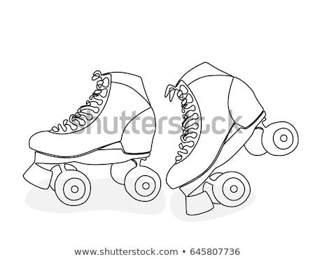 Preto patinar desenho animado ilustração setenta Foto stock © adrian_n