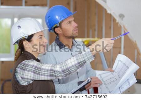 Kobiet architekta budowa budowy pracy dziedzinie Zdjęcia stock © Kzenon