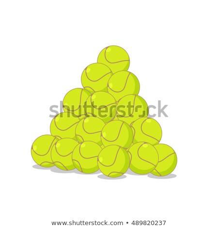 Köteg tenisz golyók sok teniszlabda sportok Stock fotó © MaryValery