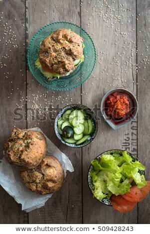 домашний · хлеб · овощей · Burger · Top - Сток-фото © faustalavagna