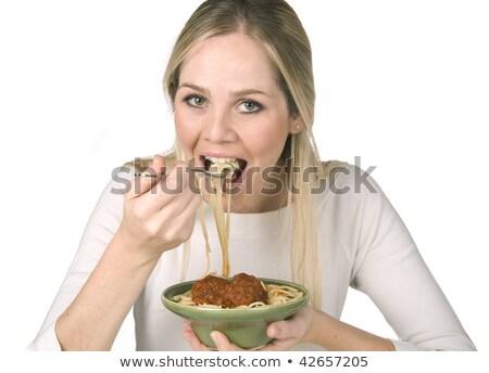 Kobieta jedzenie spaghetti klopsiki puchar poziomy Zdjęcia stock © Karpenkovdenis