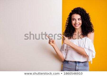 Fiatal csinos barna hajú lány plakát fehér Stock fotó © iordani