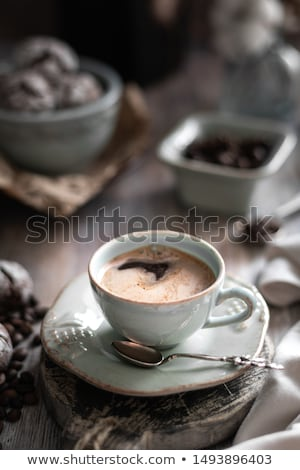 Still life of cup of coffee and chocolate cookies Stock photo © mizar_21984