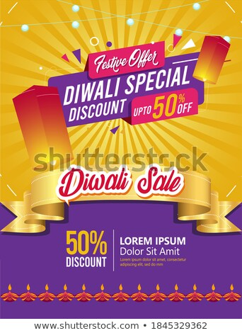 diwali festival sale discount and offers banner with light bulbs Stock photo © SArts