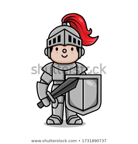 handed medieval knight sword and crown illustration isolated stock photo © tussik
