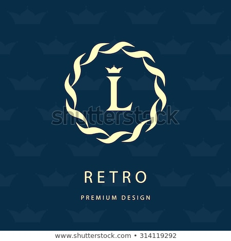 vintage floral style monogram logo design for letter L Stock photo © SArts