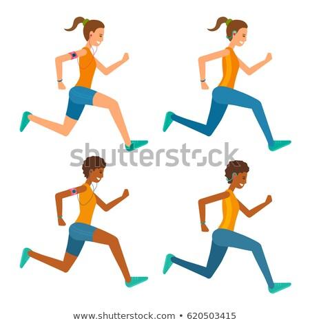 Sportos fekete atléta nő fut maraton Stock fotó © maia3000